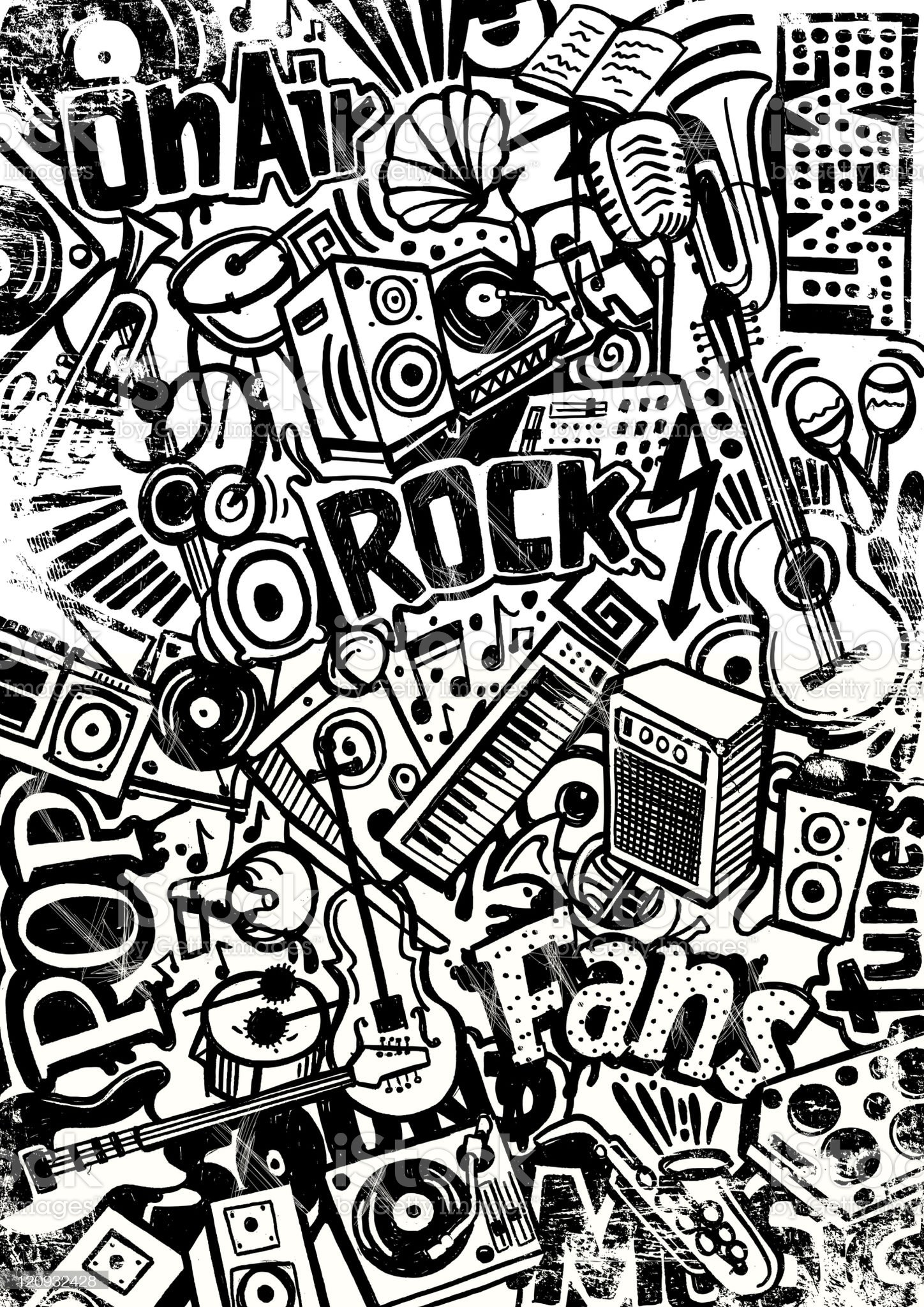 rock and pop doodle royalty-free stock vector art