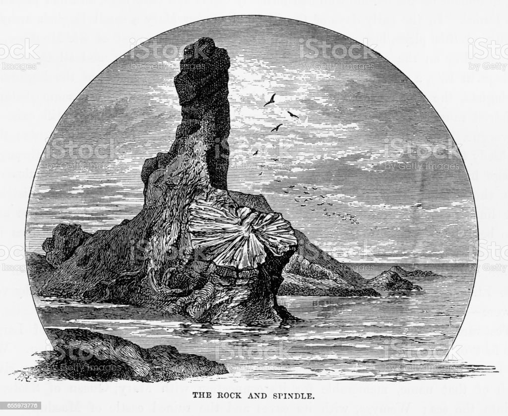 Rock and Spindle in St. Andrew's, Scotland Victorian Engraving, 1840 vector art illustration