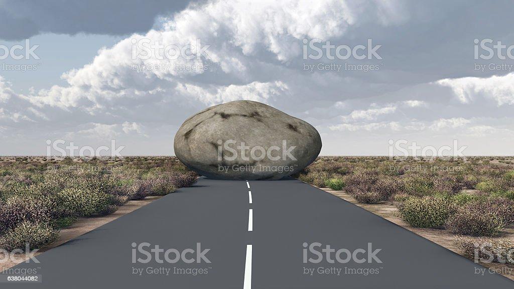 Rock blocks a road vector art illustration