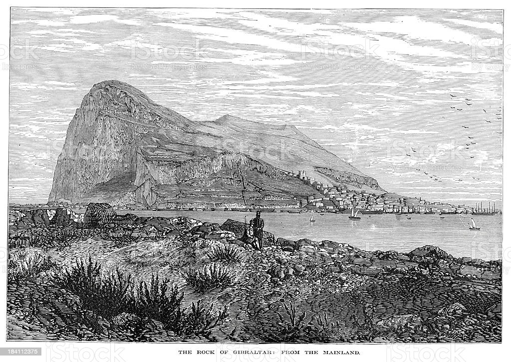 Rock of Gibraltar from the mainland royalty-free stock vector art