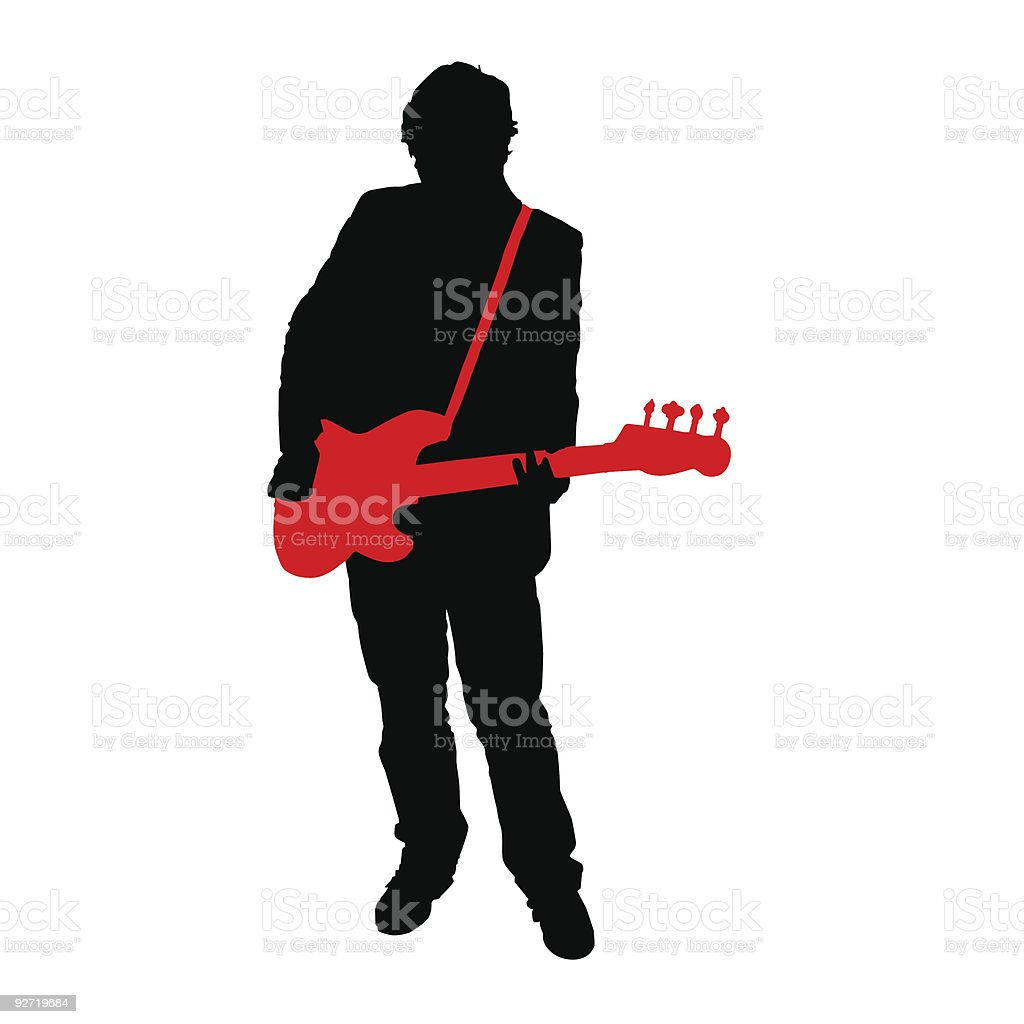 Rockin' Bassist Silhouette (vector illustration) royalty-free stock vector art