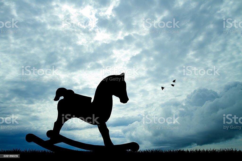 rocking horse silhouette vector art illustration