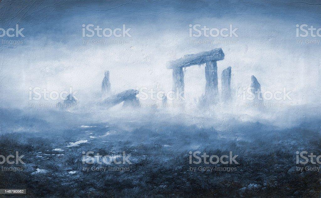 Rocks in the fog royalty-free stock vector art