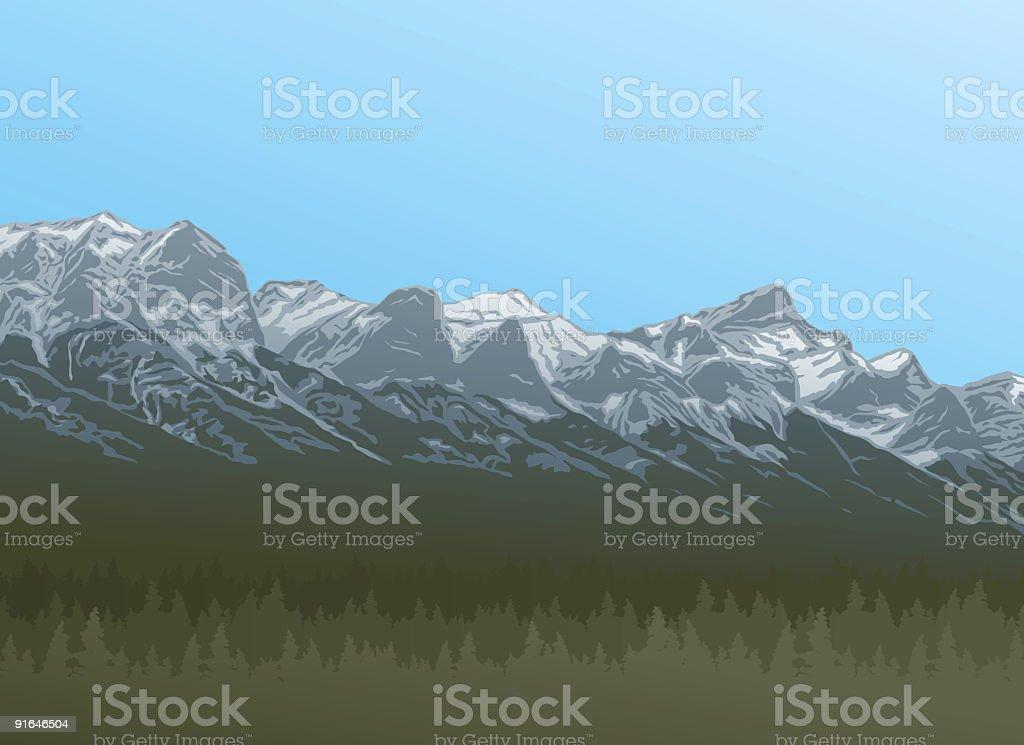 Rocky Mountains vector art illustration