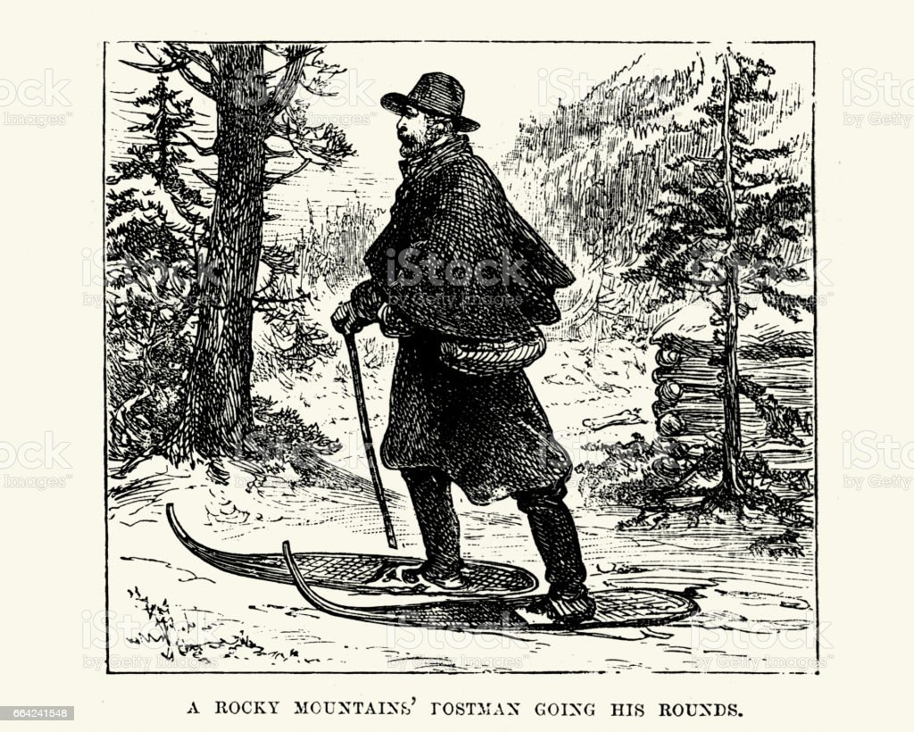 Rocky Mountains Postman going his rounds, 19th Century vector art illustration