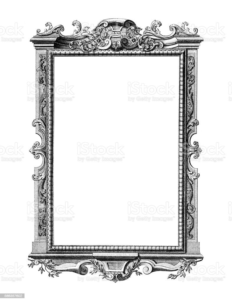 Rococo style antique frame on white vector art illustration