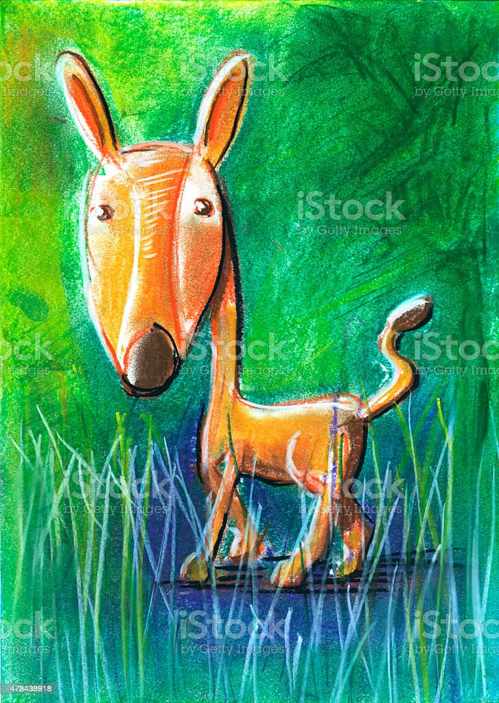 Roe Deer For Children Pastel Chalk Drawing vector art illustration