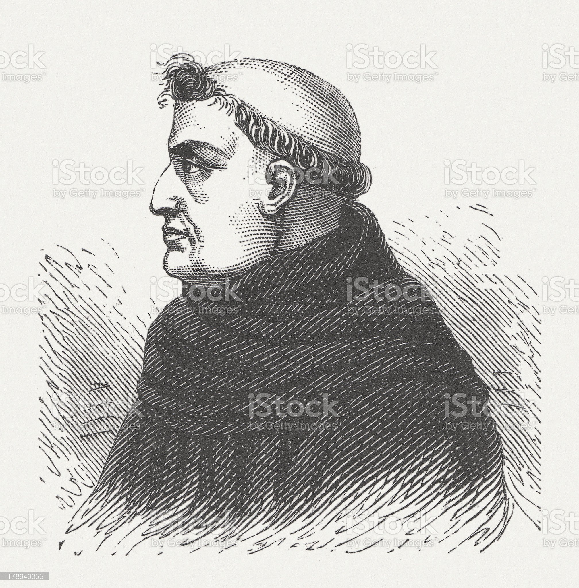 Roger Bacon (1214-1292/94), English philosopher and Franciscan, published 1876 royalty-free stock vector art