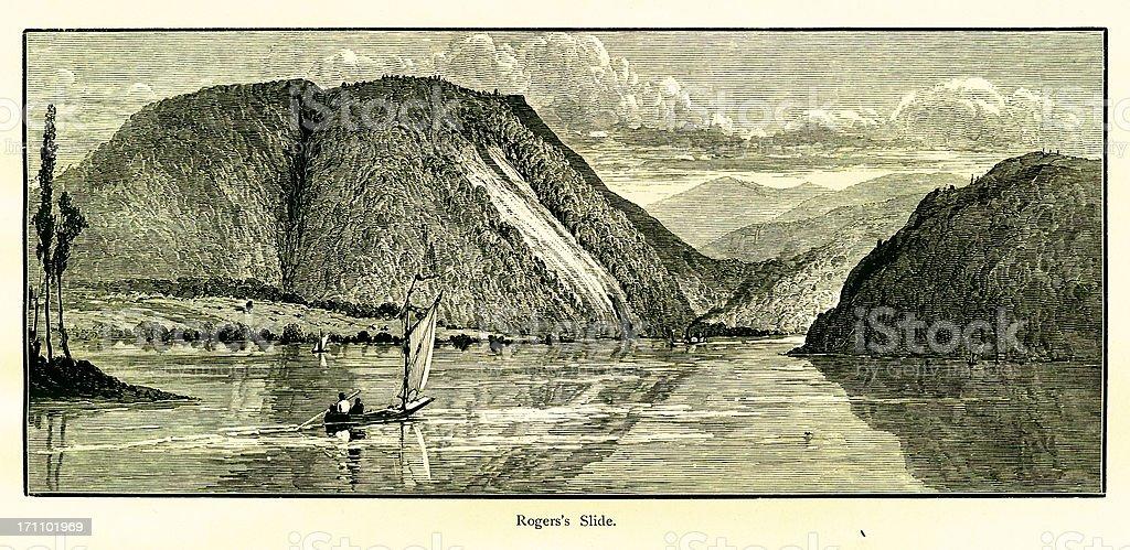 Rogers's Slide, Lake George, New York vector art illustration