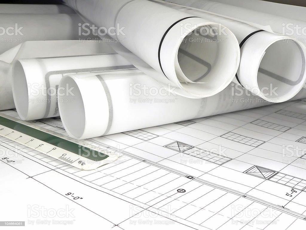 Rolled Blueprints vector art illustration