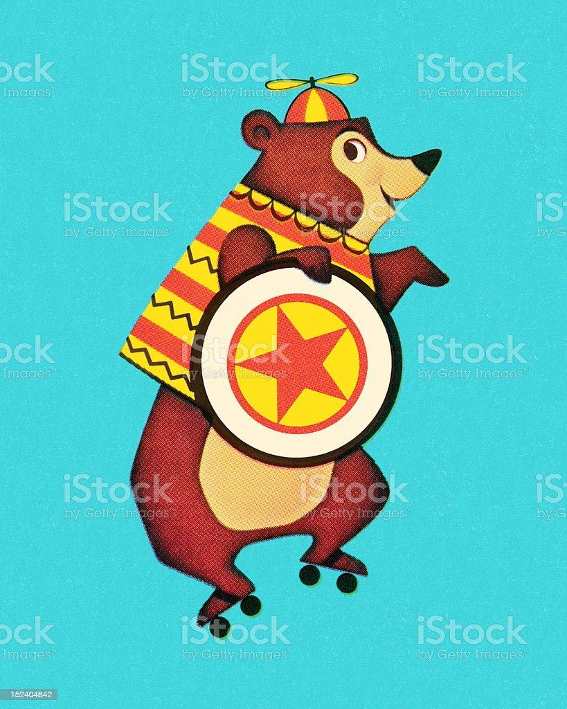 Roller Skating Bear royalty-free stock vector art