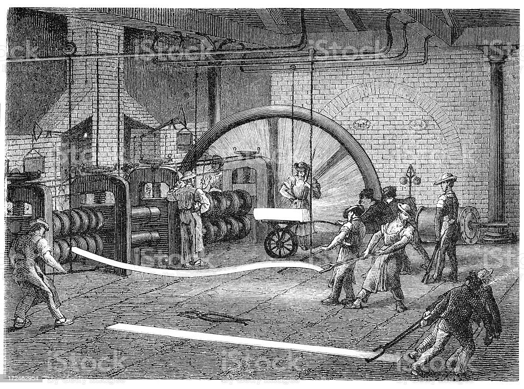 Rolling mill - Metalworking royalty-free stock vector art