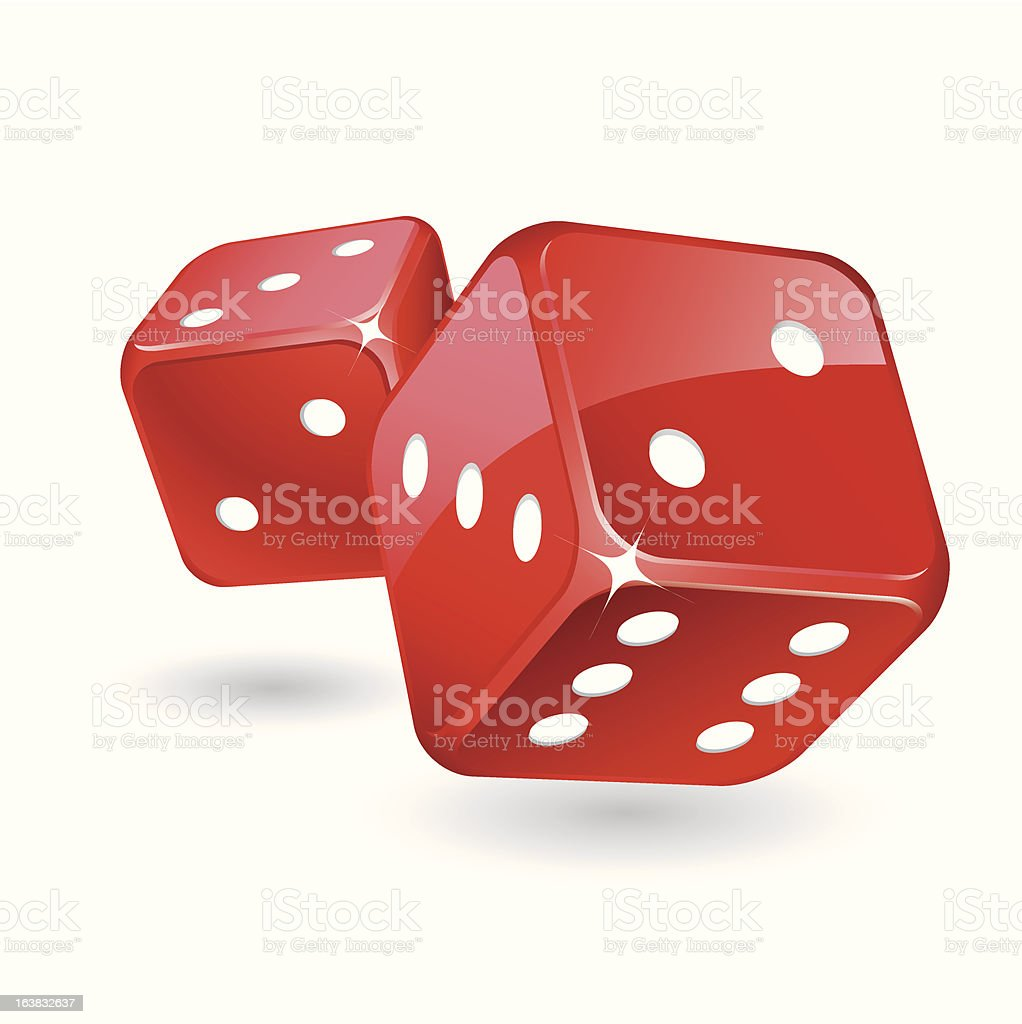 Rolling red glossy dices royalty-free stock vector art