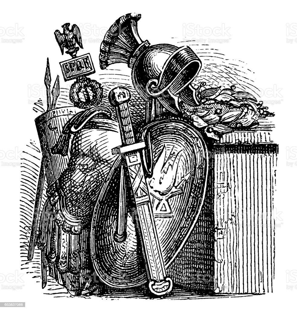 Roman Armor vector art illustration