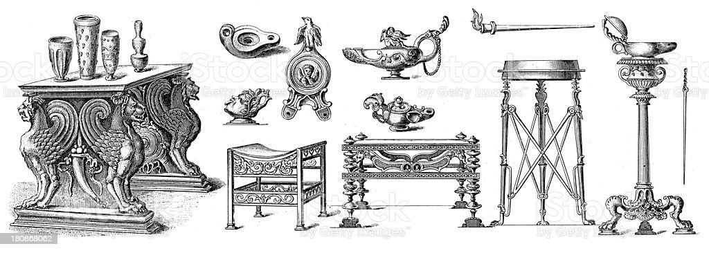 Roman artefacts (antique wood engraving) royalty-free stock vector art