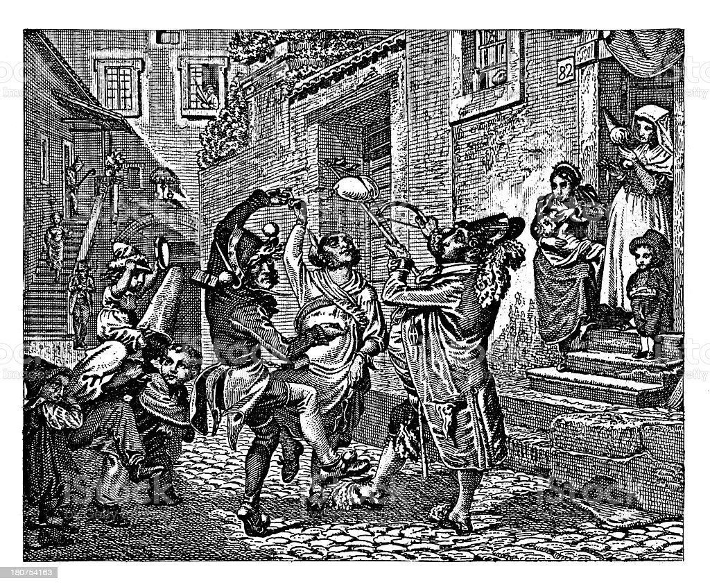 Roman carnival (antique wood engraving) royalty-free stock vector art