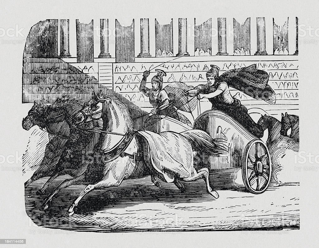 Roman chariot race royalty-free stock vector art