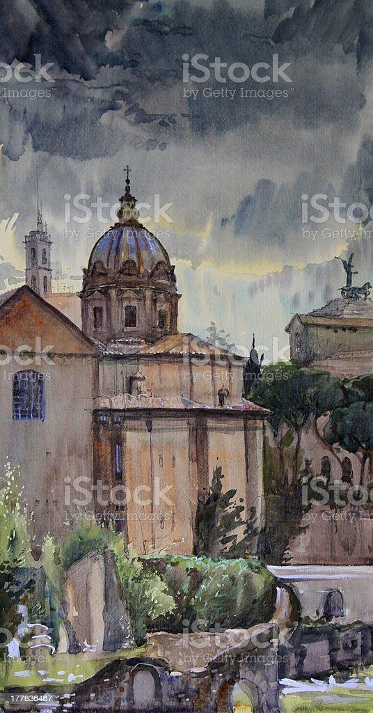 Roman cityscape royalty-free stock vector art