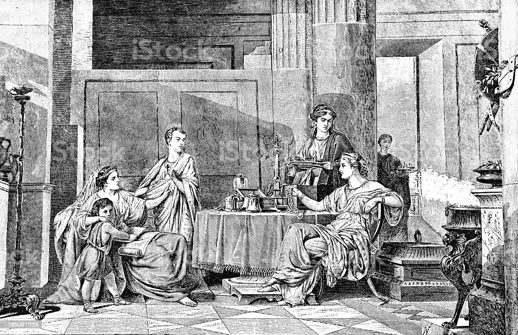 Roman Dinner Party - Victorian Illustration vector art illustration