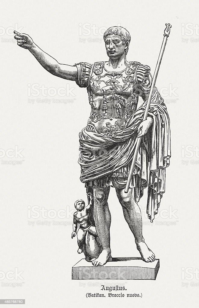 Roman Emperor Augustus, published in 1878 vector art illustration