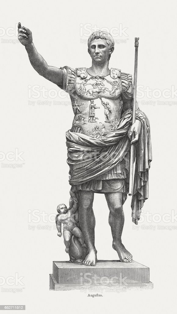 Roman Emperor Augustus (63 BC-14 AD), wood engraving, published 1884 vector art illustration