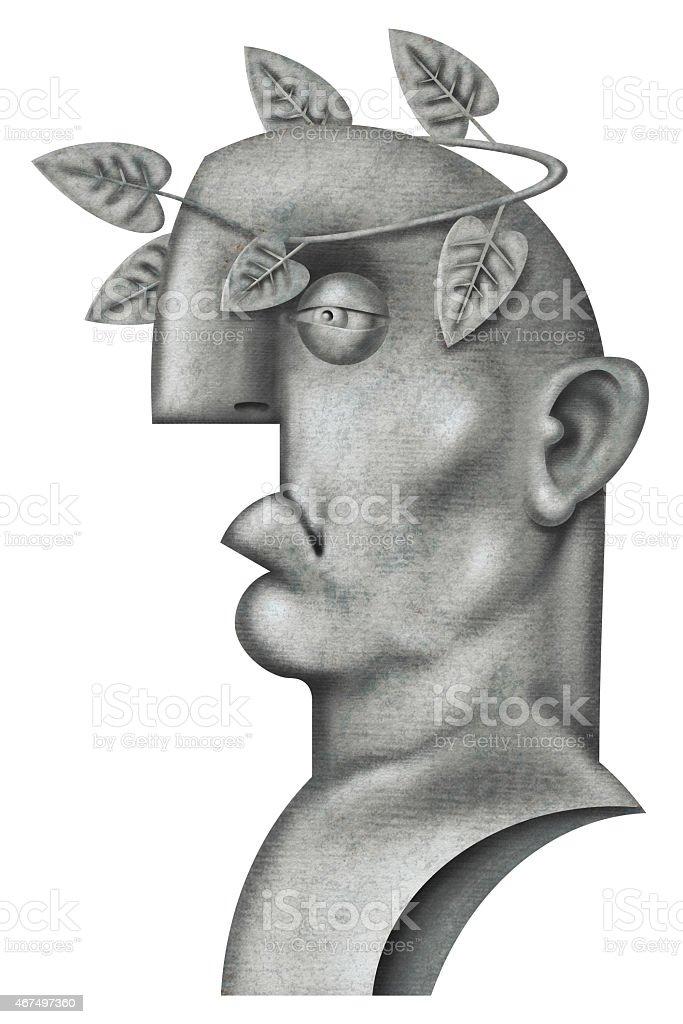 Roman emperor bust vector art illustration