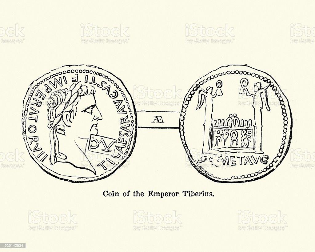 Roman Emperor Tiberius vector art illustration