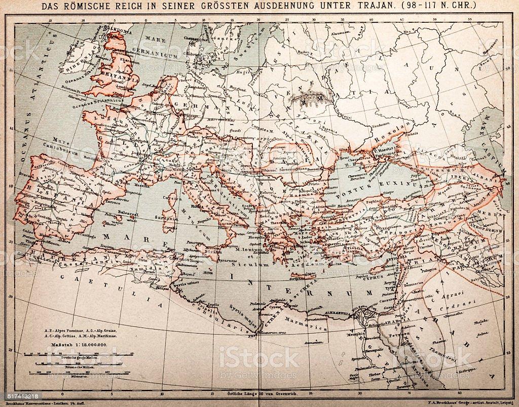 Roman empire under Trajan vector art illustration