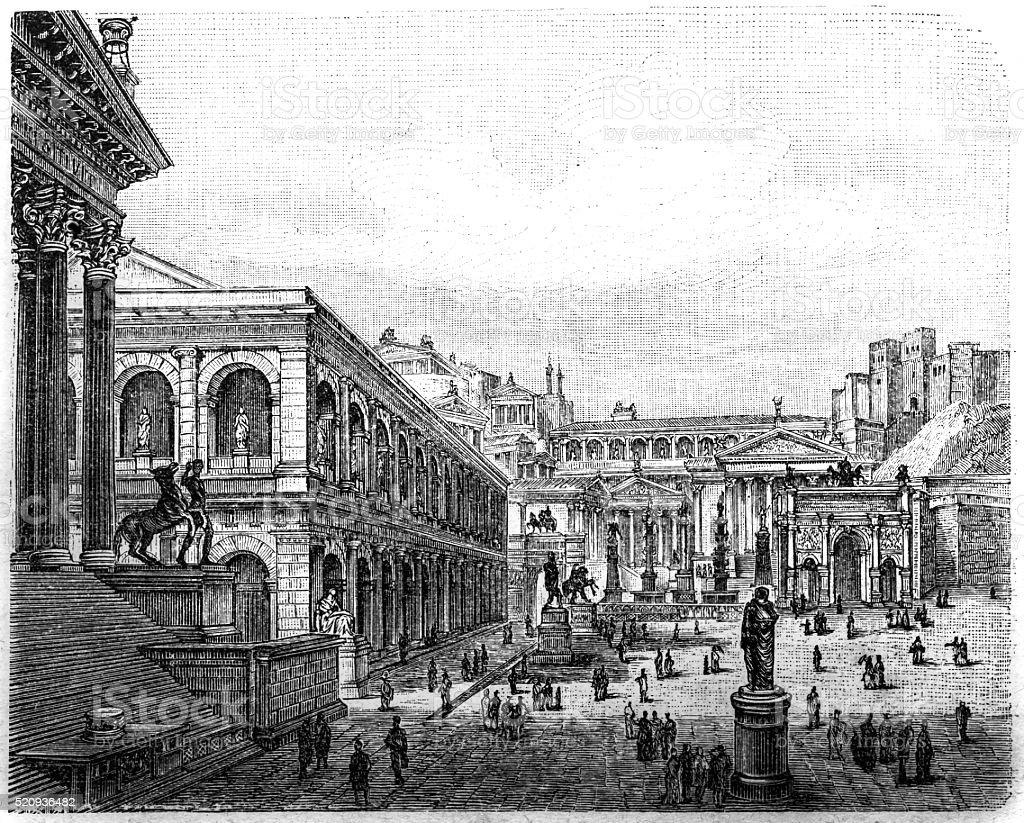 Roman Forum, visual reconstruction vector art illustration