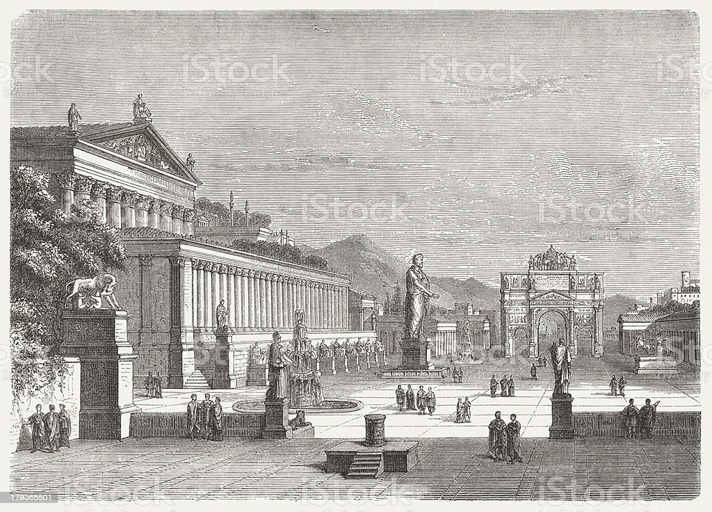 Roman Forum, visual reconstruction, wood engraving,published in 1876 vector art illustration