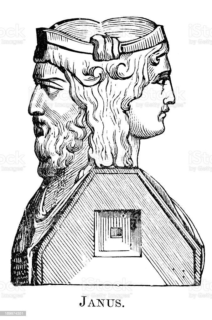 Roman God Janus royalty-free stock vector art