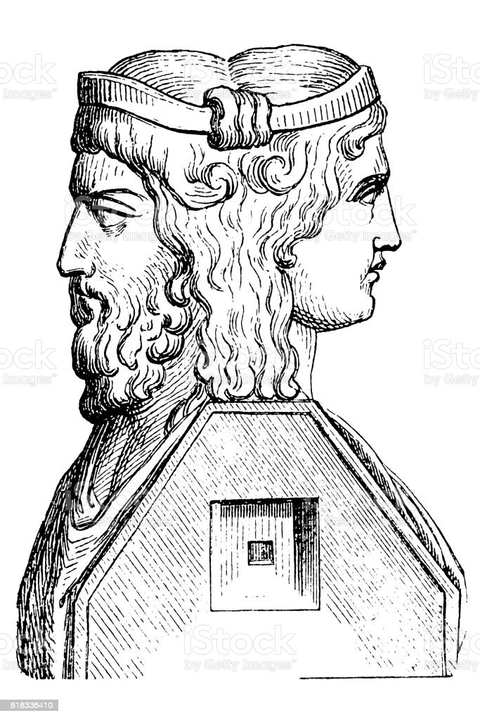 Roman God Janus vector art illustration