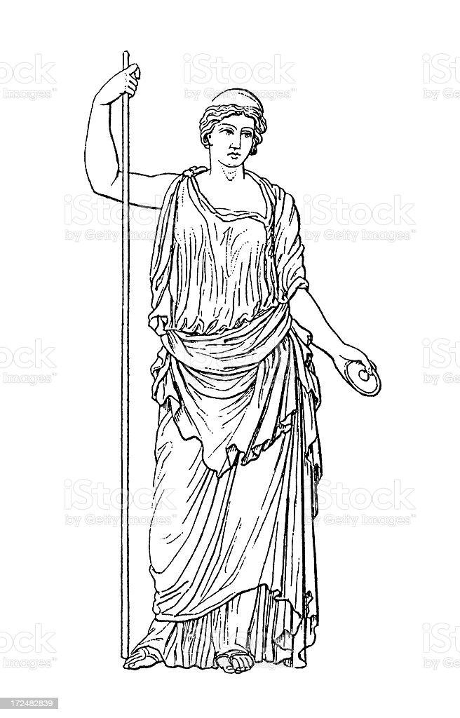 Roman goddess Juno   Antique Historic Illustrations vector art illustration