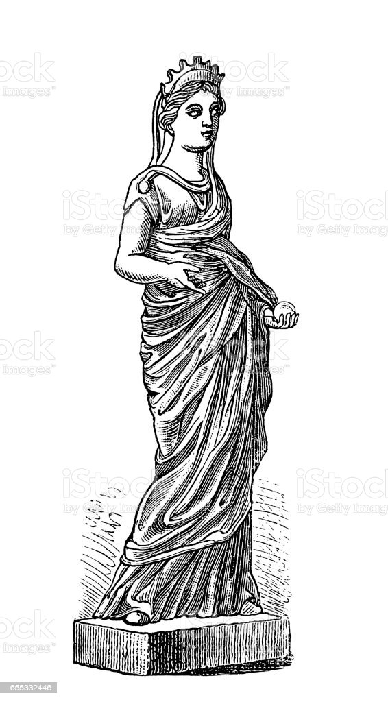 Roman goddess Juno vector art illustration