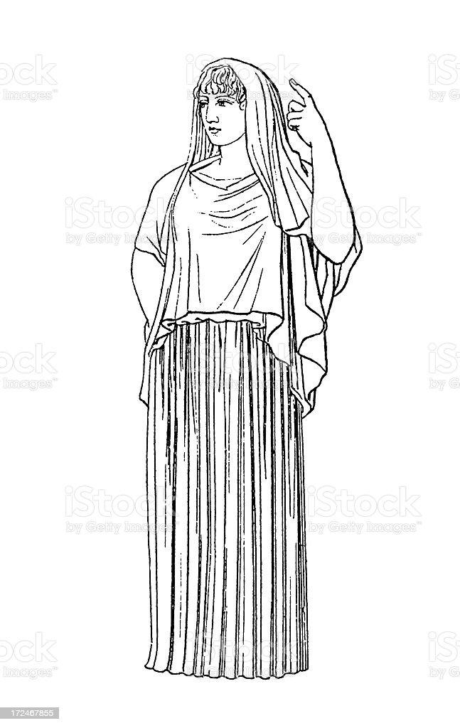 Roman goddess Vesta | Antique Historic Illustrations royalty-free stock vector art