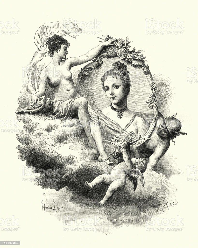 Roman gods Mercury, Venus, Cupid surrounding a young woman vector art illustration