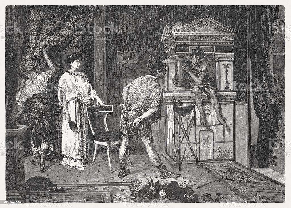 Roman living room with house altar, published in 1878 vector art illustration