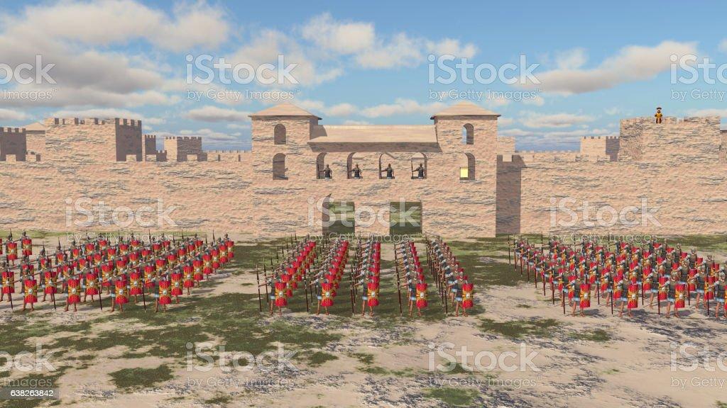Roman military camp and legionaries vector art illustration