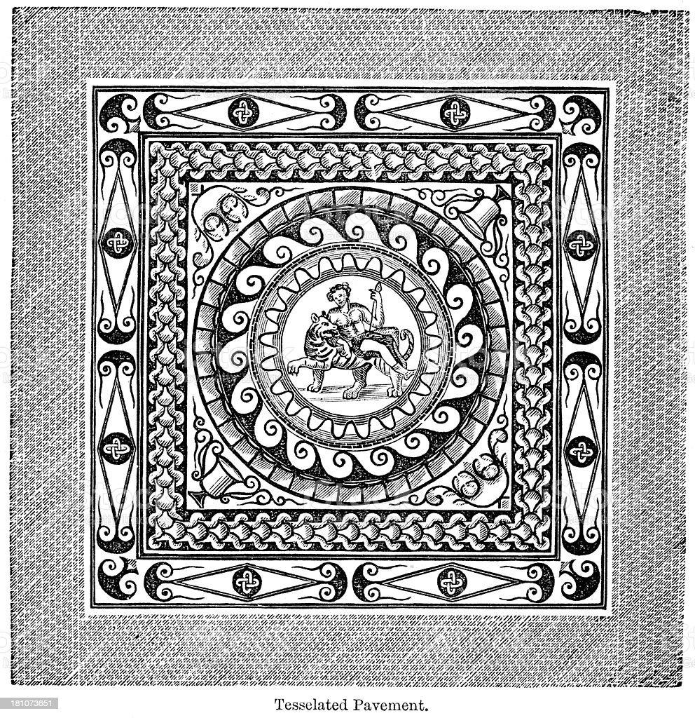 Roman mosaic royalty-free stock vector art