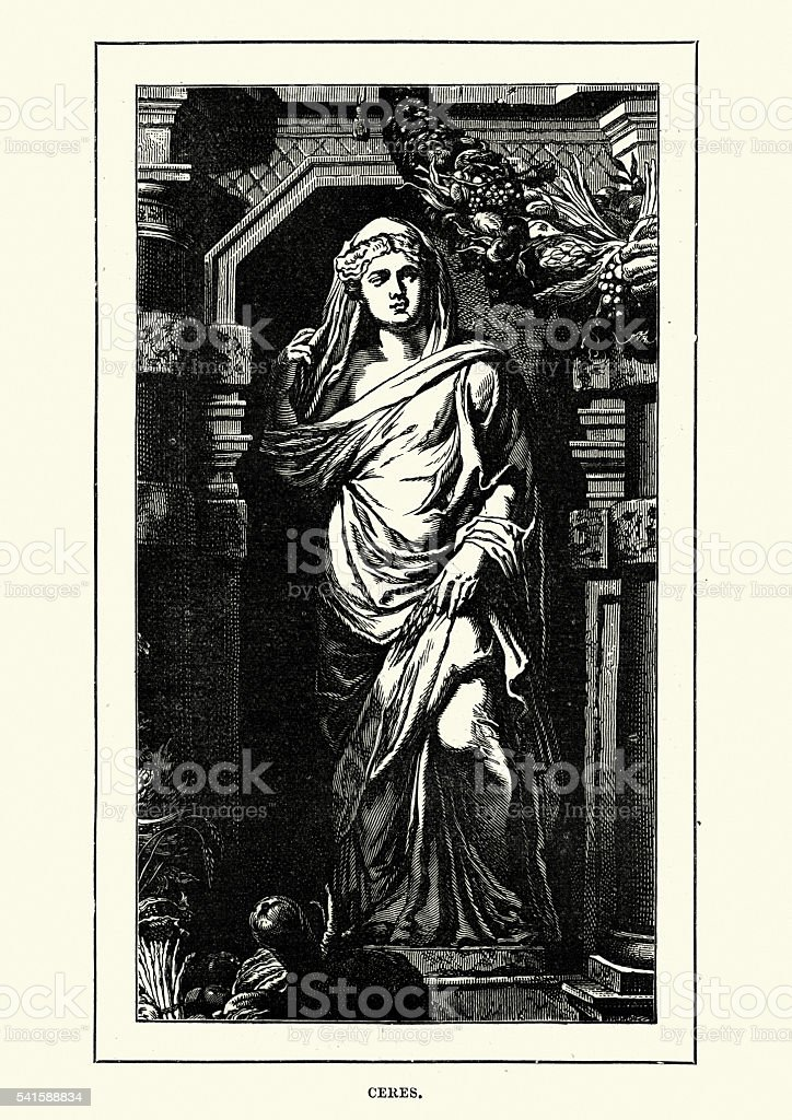 Roman Mythology - Ceres Goddess of agriculture vector art illustration