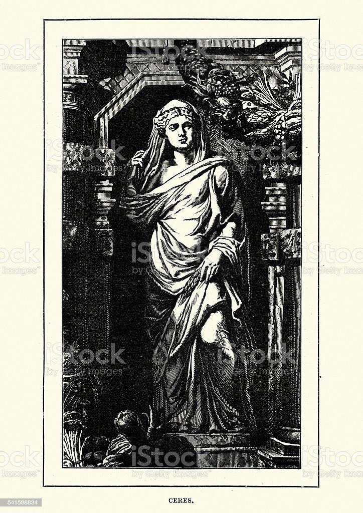 Roman Mythology - Ceres Goddess of agriculture vector art illustration