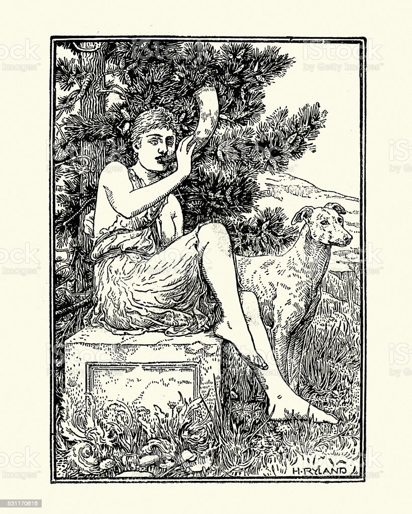 Roman mythology, Diana Goddess of the hunt vector art illustration