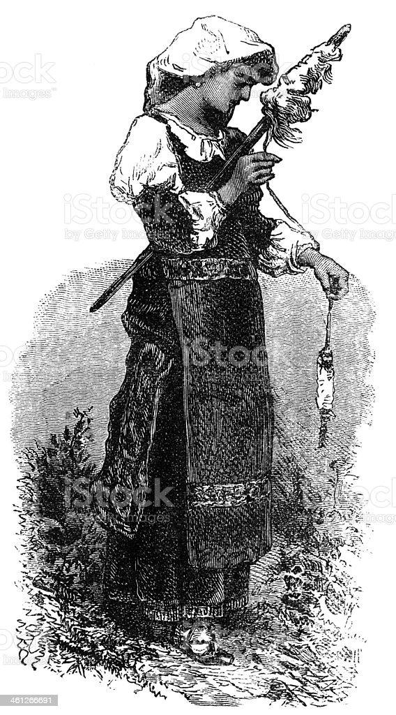 Roman Peasant Girl royalty-free stock vector art
