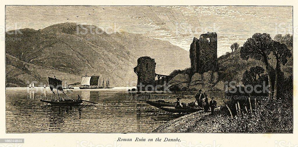 Roman ruin on the Danube River (antique wood engraving) vector art illustration