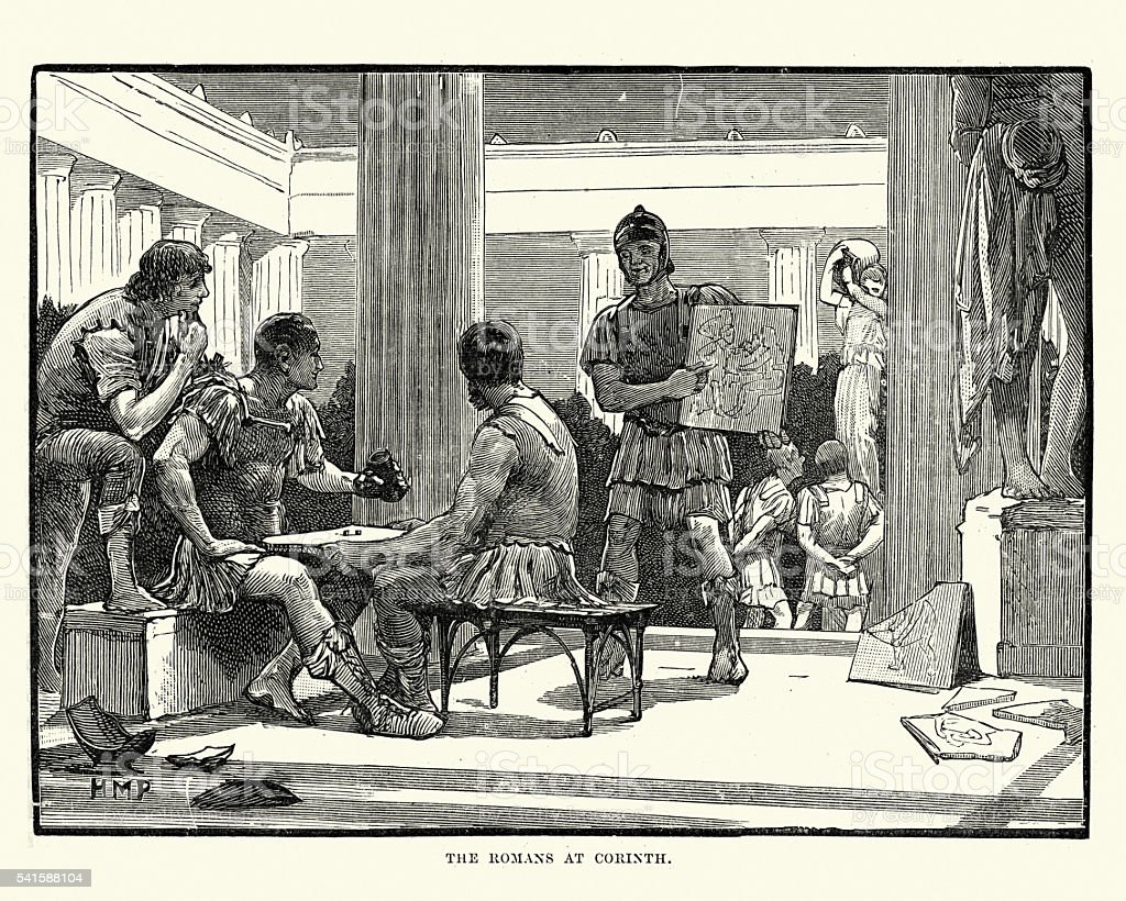 Roman Soldiers Looting Ancient Corinth vector art illustration