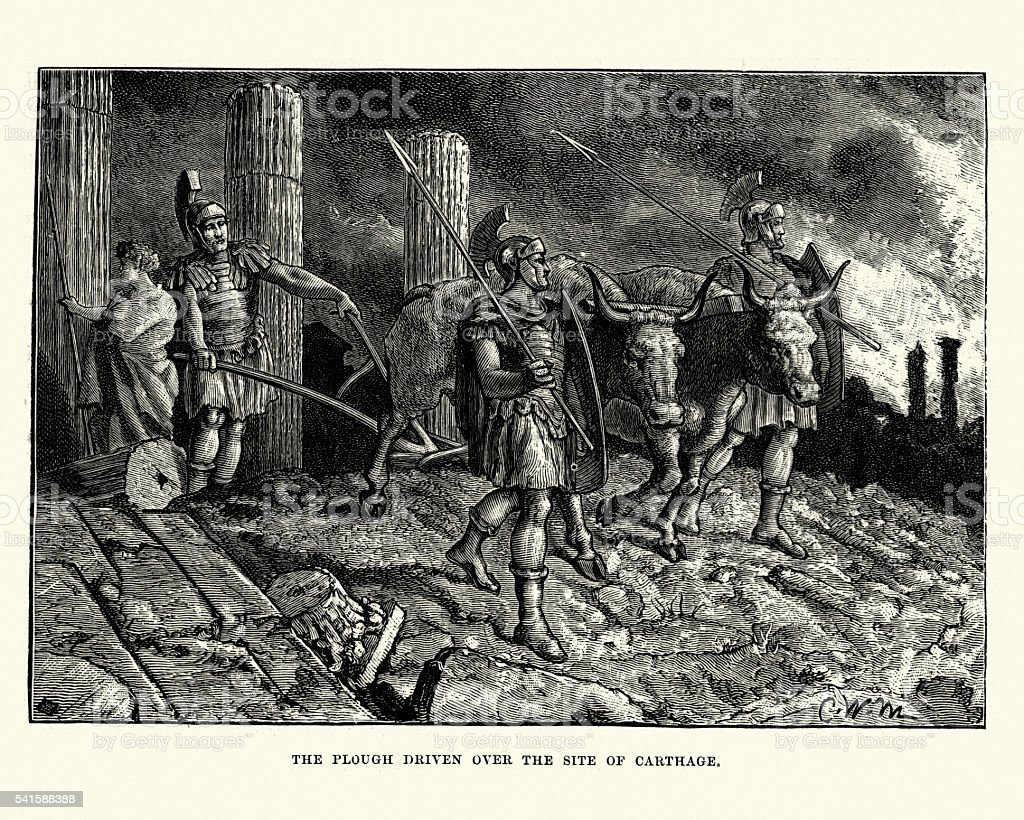 Roman Soldiers ploughing the ruins of Carthage vector art illustration