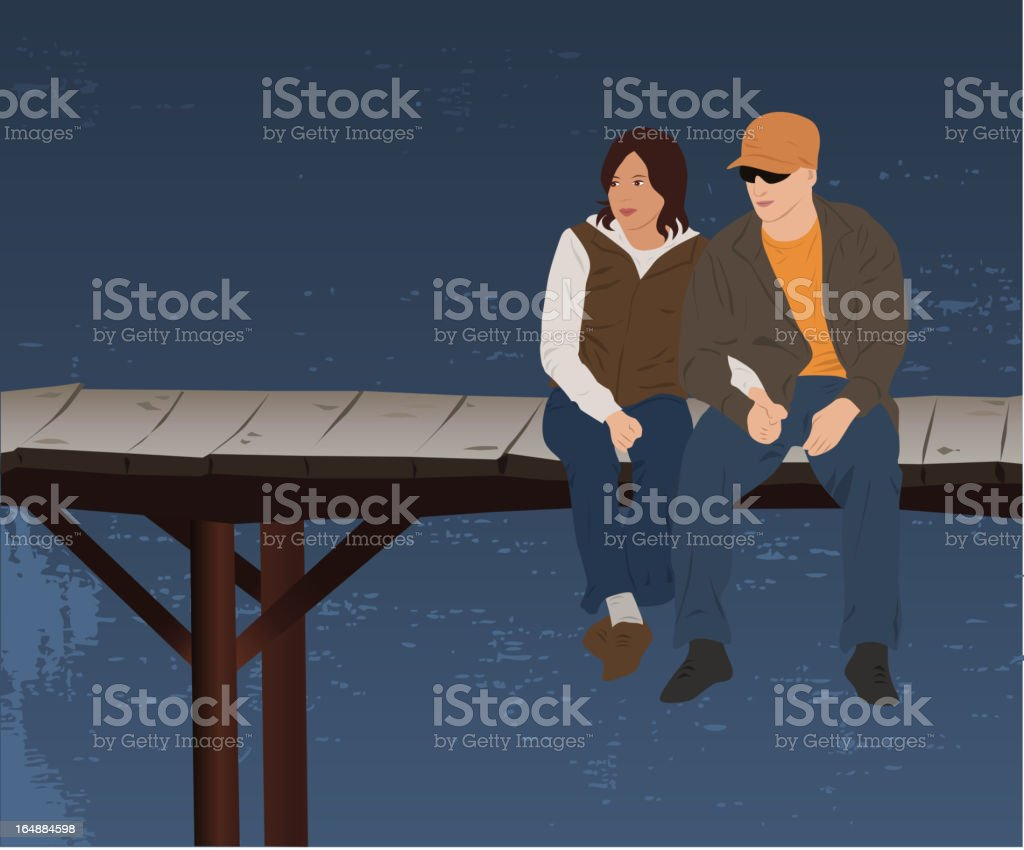 Romance on the bridge royalty-free stock vector art