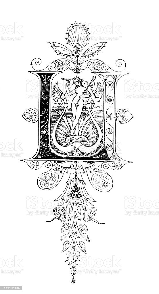 Romanesque Neoclassical design depicting the letter L royalty-free stock vector art