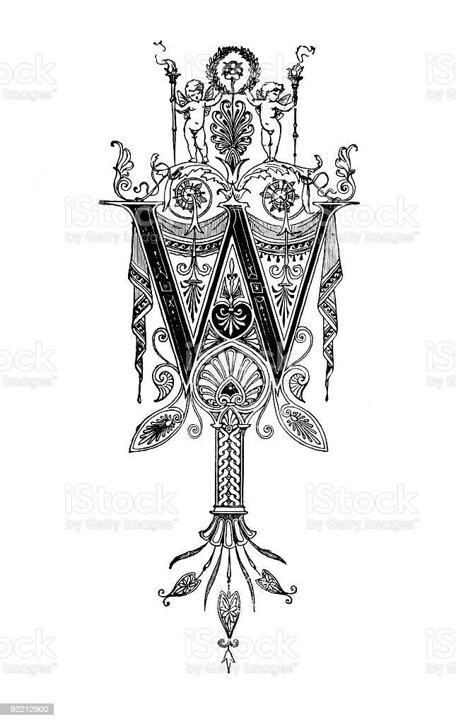Romanesque Neoclassical design depicting the letter W vector art illustration