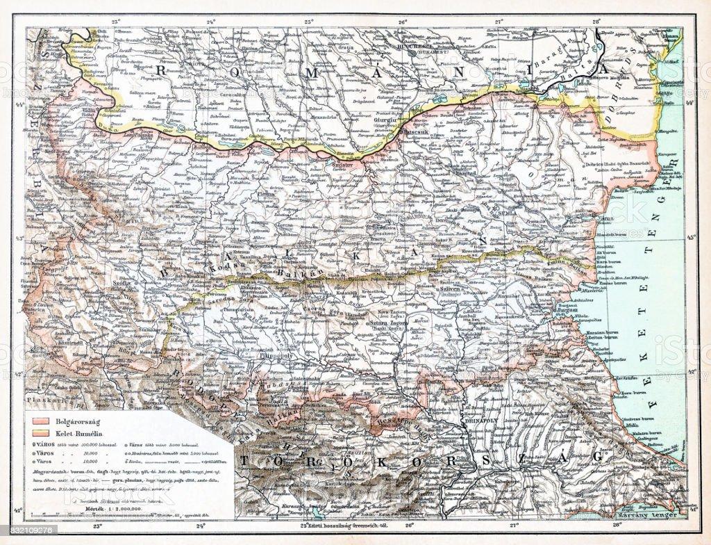 Romania ,Bulgaria map vector art illustration